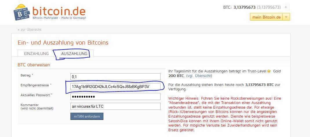 bitcoin.de Transfer