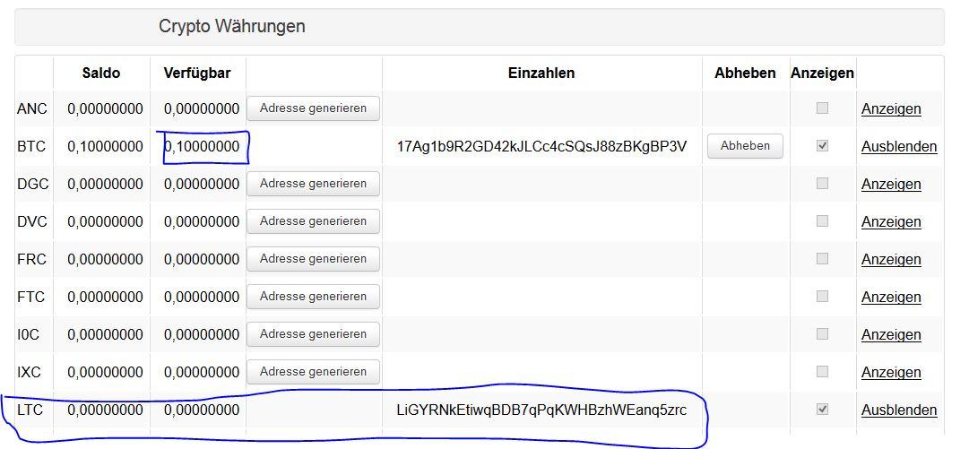 Bitcoins auf vircurex.com